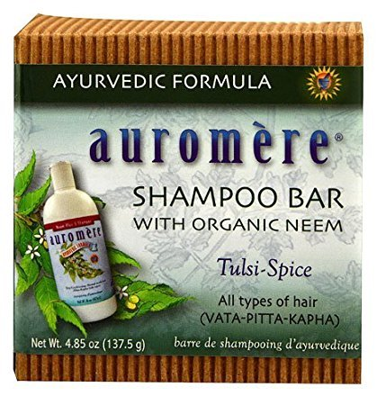 Auromere Shampoo Bar with Organic Neem Tulsi-Spice - 4.85 oz (2 - Month Shampoo Supply) - with FREE Mini Net Bath Sponge - This bar is equillvent to a 16 oz liquid shampoo