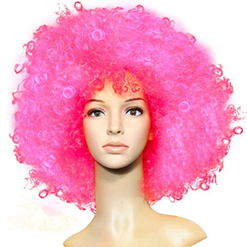 Men's Oversize Cosply Afro Short Wig with Curly Costume Ball Rave Party (Pink Afro Wig)