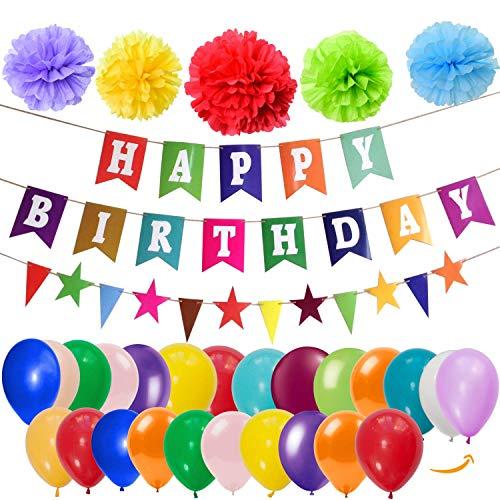 Zeez Store Birthday Party Decoration Set, Colorful, Banner, Tissue Pom Poms, Balloons, Stars Triangle Flags; 54 Pcs (Party Birthday Set Decorations)