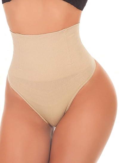 d5311504c0e SEXYWG Women Waist Cincher Girdle Tummy Control Thong Panty Slimmer Body  Shaper Beige