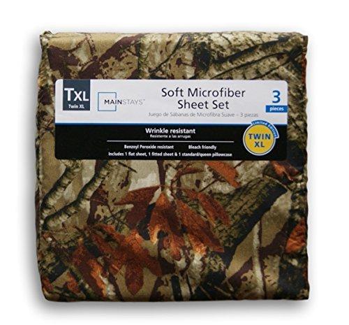 Mainstays Twin Xl Microfiber Sheet Set, Camo, Pillowcase Too
