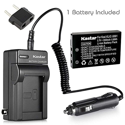 Kastar Charger with Car Adapter and Battery for Kodak KLIC-5001 Kodak EasyShare Camera DX7630, Kodak EasyShare DX7790, Kodak EasyShare Z760 Zoom, Kodak EasyShare Z7590 Zoom as Sanyo (Dx7440 Digital Camera Battery)