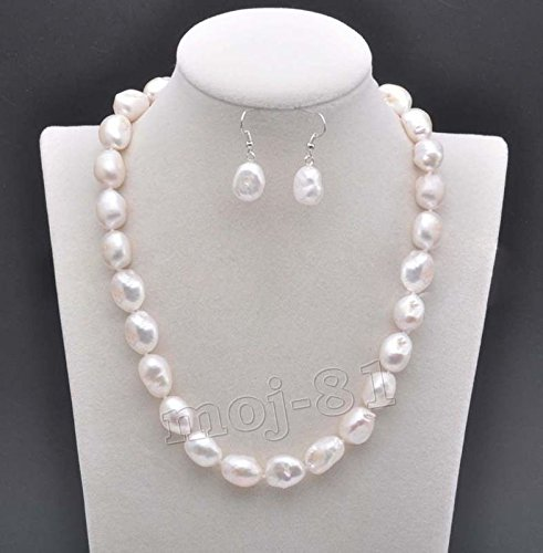 REAL NATURAL 9-10MM SOUTH SEA WHITE BAROQUE PEARL NECKLACE EARRING SET