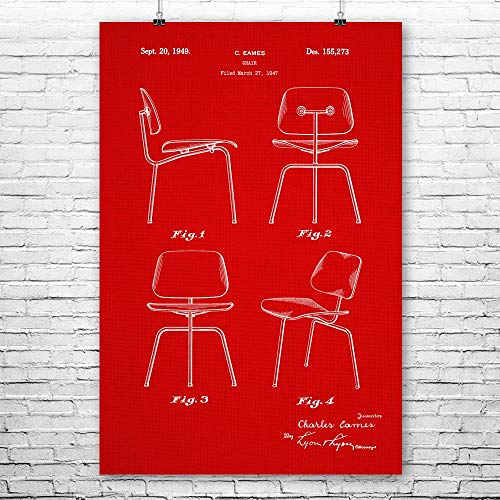 - Patent Earth Eames Chair Poster Print, Designer Gift, Vintage Chair, Home Design, Interior Decorator, Classroom Furniture Red Fabric (12