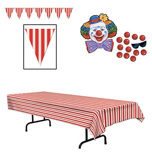 CIRCUS Carnival Themed PARTY DECORATIONS - Tablecloth PENNANTS Banner & PIN Nose on CLOWN Game - DECOR -