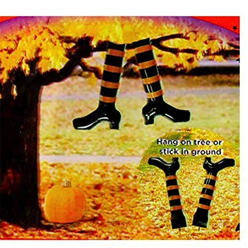 Halloween Decoration Inflatable Witch Leg Stakes Hang in Tree or Stick in Ground Halloween Prop -