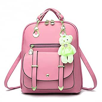 Prime Day Deals Week Clearance Sale-Pahajin Ladies backpack fashion new student casual shoulder bag PU leather backpack (pink)