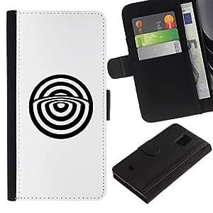 Planetar® Modelo colorido cuero carpeta tirón caso cubierta piel Holster Funda protección Para Samsung Galaxy S5 Mini / SM-G800 (Not For S5!!!) ( Minimalist Bulls Eye Abstract White )