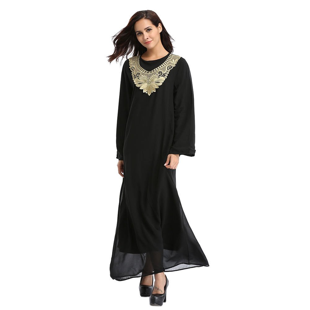 Meijunter Muslim Malaysia Chiffon Embroidery Islamic Turkey Maxi Dress Middle East Dubai Ethnic Kaftan Party Cocktail Gown Long Sleeve Abaya: Amazon.co.uk: ...