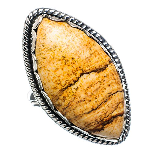 Large Picture Jasper Ring Size 8.75 (925 Sterling Silver) - Handmade Jewelry RING892706 (Ring Picture Cabochon Jasper)