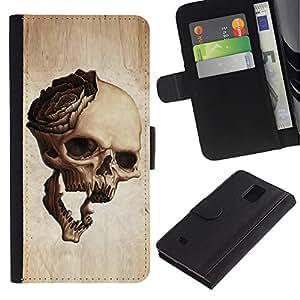 Billetera de Cuero Caso Titular de la tarjeta Carcasa Funda para Samsung Galaxy Note 4 SM-N910 / Skull Rose Metal Rock Roll Music Beige / STRONG