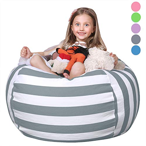 WEKAPO Stuffed Animal Storage Bean Bag Chair Cover for Kids Stuffable Zipper Beanbag for Organizing Children Plush Toys 38 Extra Large Premium Cotton Canvas