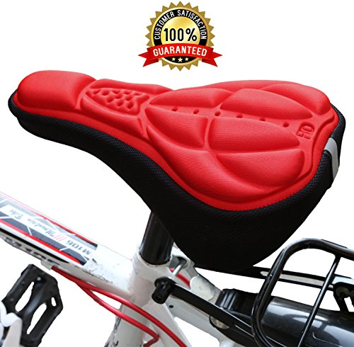GPCT Bike Seat [Ergonomic] Comfortable Cushion Cover. Bicycle Saddle Topper One Size Fit For Women/Men. For Road Bike Cruiser/Stationary Exercise Bikes, Outdoor/Indoor, Cycling/Spinning- Red