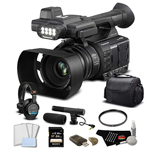 Panasonic AG-AC30 HD Camcorder Touch LCD Screen Built in LCD Light Pro Bundle 32 GB Memory Card 64GB Memory Card