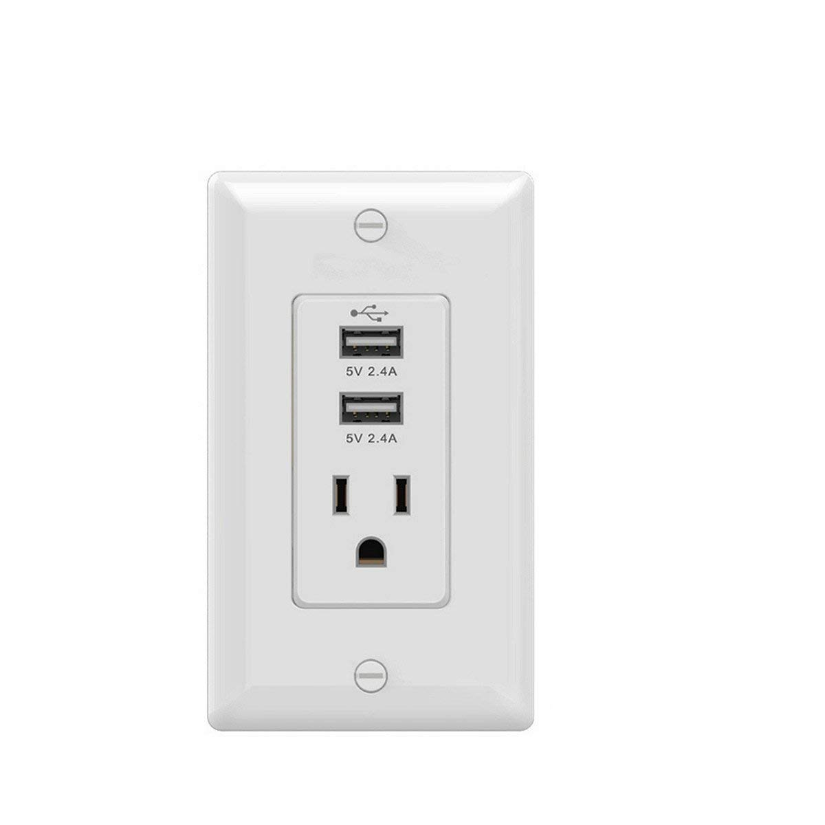Standard Outlet Dual USB Ports Wall Mount Power Plate Receptacle Rating: 15A, 125VAC, 60Hz White
