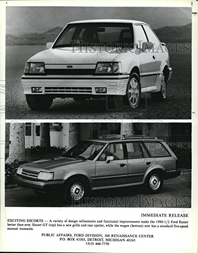 (Historic Images 1988 Press Photo Ford Escort GT with new grille & rear spoiler - 10.25 x 8)