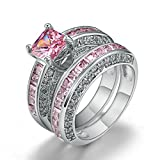 European Style Amethyst Two Pieces Cubic Zirconia Wedding Engagement Band Couple Rings (Pink, 5)