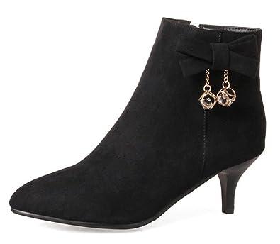734cc1bf3e Aisun Women's Rhinestone Faux Suede Inside Zip Up Pointed Toe Booties  Stiletto Kitten Heel Ankle Boots