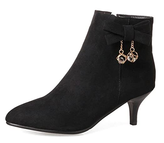 Women's Rhinestone Faux Suede Inside Zip Up Pointed Toe Booties Stiletto Kitten Heel Ankle Boots With Bows