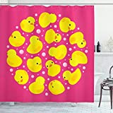 Ambesonne Rubber Duck Shower Curtain, Fun Baby Duckies Circle Pattern Kids Bath Toys Bubbles Animal Print, Cloth Fabric Bathroom Decor Set with Hooks, 75' Long, Pink Yellow