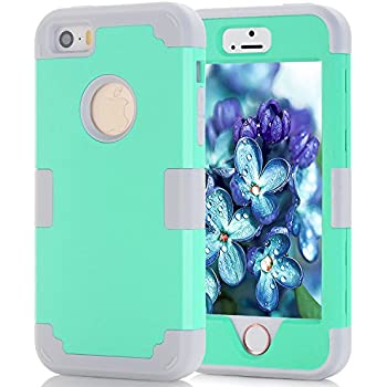 iPhone 5S/SE Case, MCUK [Heavy Duty] [Shock Resistant] [Drop Protection] Hybrid Best Impact Defender Cover Shell Plastic Outer & Rubber Silicone Inner for Apple iPhone 5S/SE (Aqua+Grey)
