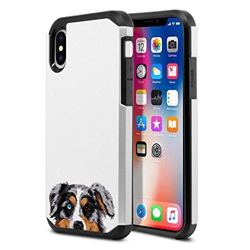 Dog Protector Case - FINCIBO Case Compatible with Apple iPhone X XS 5.8 inch, Dual Layer Hard Back Hybrid Protector Case Cover Anti Shock TPU for iPhone X XS - Merle Aussie Australian Shepherd Dog