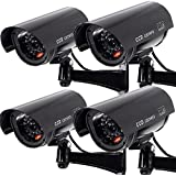 Puronic 4 Pack Dummy Fake Security CCTV Dome Camera with Flashing Red LED Light with Warning Security Alert Sticker Decals, Black