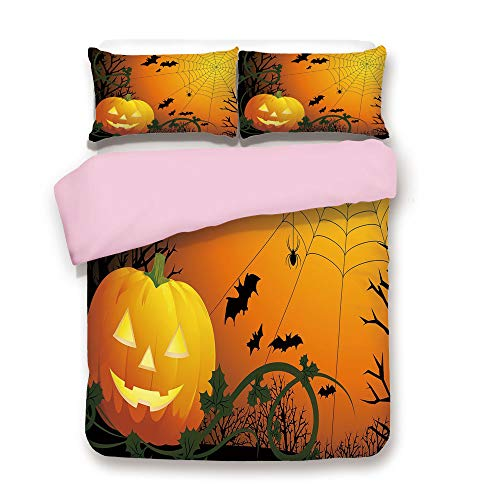 Pink Duvet Cover Set,Queen Size,Halloween Themed Composition with Pumpkin Leaves Trees Web and Bats Decorative,Decorative 3 Piece Bedding Set with 2 Pillow Sham,Best Gift For Girls Women,Orange Dark G