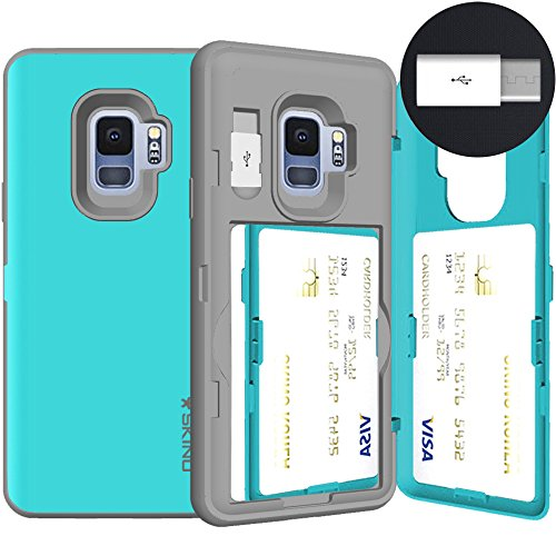 Galaxy S9, SKINU [Galaxy S9 Wallet Case] Galaxy S9 Charger Dual Layer Hidden Credit [S9 Card Case] Holder ID Slot Card Case with Inner USB type C Adapter and Mirror for Galaxy S9 (2018) - Teal