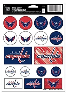"(HCW) Washington Capitals Vinyl Sticker Sheet 5""x7"" Decals NHL Licensed Authentic"
