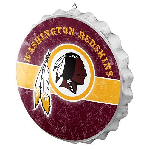 FOCO NFL Washington Redskins Metal Distressed Bottlecap Wall Signmetal Distressed Bottlecap Wall Sign, Team Color, One ()