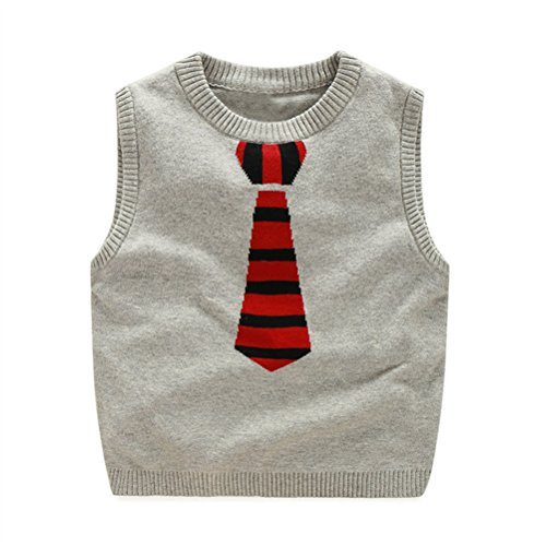 SPRMAG Boy's Knit Stripe Tie Uniform Sweater Vest Sleeveless Pullover 7-8T (Sweater Vest Tie)