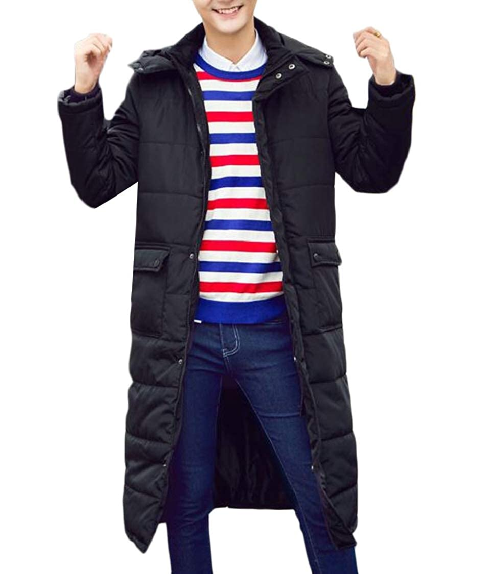 pipigo Mens Cotton-Padded Quilted Overcoat Stylish Hooded Parkas Coats