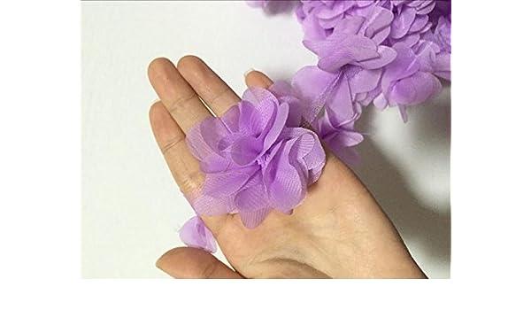 1af393539e90e Amazon.com: Laliva 2yards/24pcs 3D Chiffon Cluster Flowers Lace ...