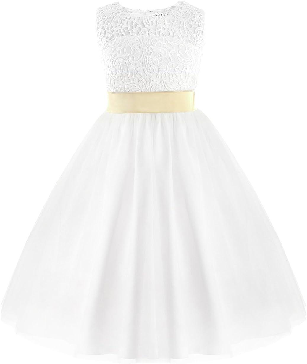 IEFIEL Vestido Blanco de Princesa Fiesta Ceremonia Boda Vestido Encaje Floreado Bautizo para Niña (2-12 Años) Espalda al Aire