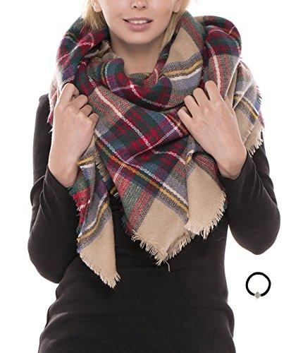 MIRMARU Womens Oversized Large Plaid Checked Tartan Blanket Scarf Wrap Shawl with Hair Tie.