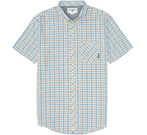 (Billabong Men's Steady Short Sleeve Woven Shirt, Light Blue, Medium)