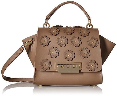ZAC Zac Posen Eartha Iconic Top Handle Crossbody-Floral Applique, Coastal Fog by ZAC Zac Posen