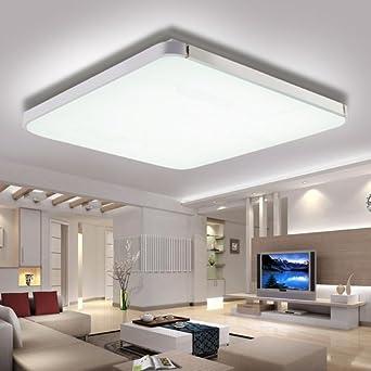 HengdaR 64W LED Deckenleuchte Weiss IP44 Wohnzimmer Deckenbeleuchtung Modern 6000 6500K Silber Kuche Panel