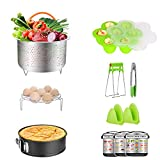 Vantic GYGPJ-002 Pressure Cooker Accessories with InstantPot-Fits Qt instapot, Stainless Steel Basket Steamer Rack Tongs/Food Grade Silicone Egg Bites Molds and Mini Mitts, 11Pcs