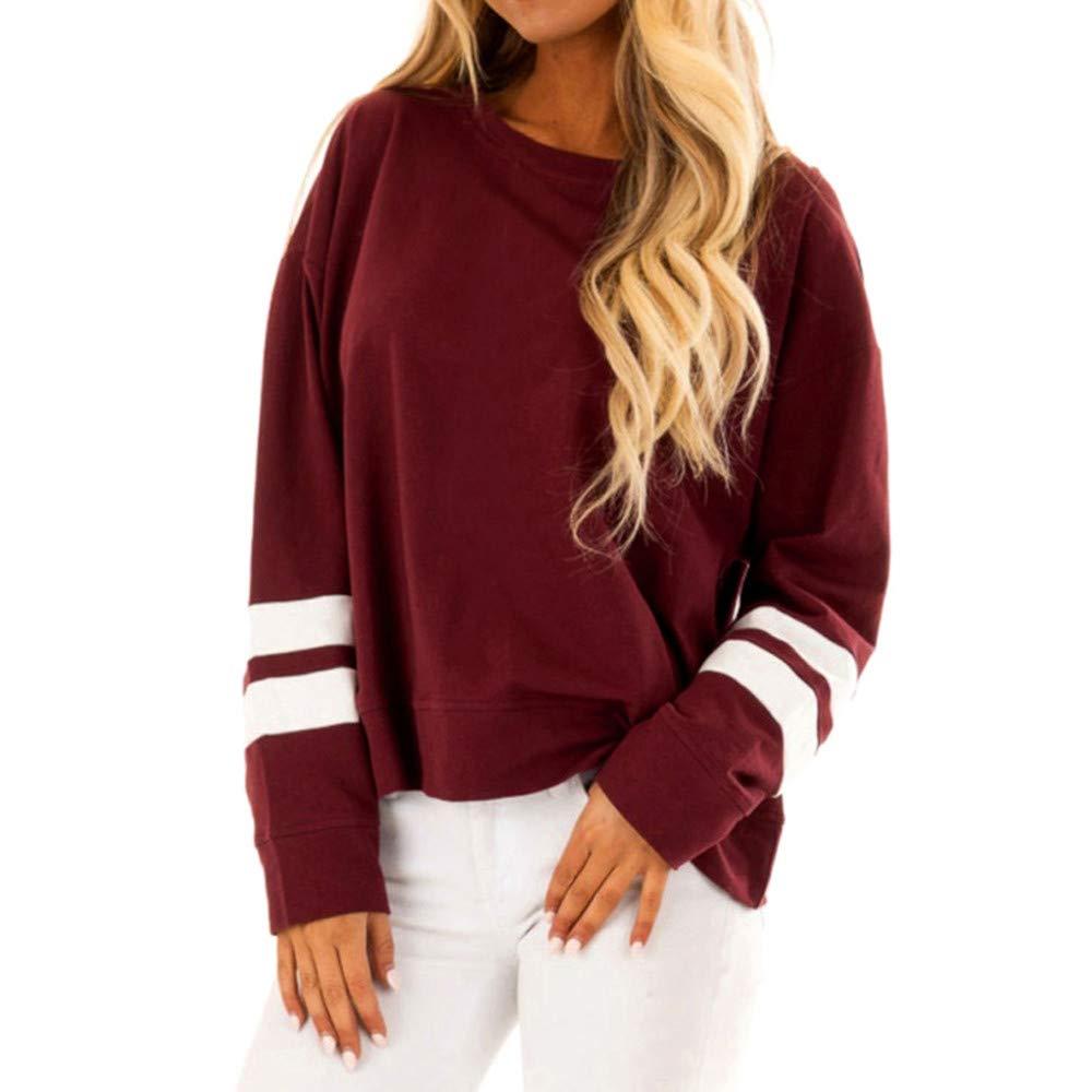 Rambling Women Fashion Casual Striped Raglan Round Neck Long Sleeve Sweatshirts Shirts Tops