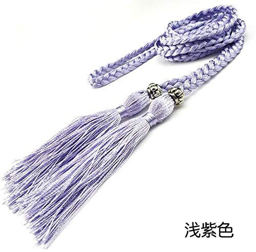 LeNG Fashion Womens Braided Belt Bowknot Rope Fine Woven Ladies With Tassels,160cm,Lavender by LeNG Apparel-belts