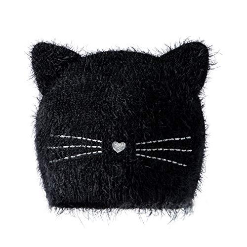 accsa Toddler Kid Girl Christmas Dress Fluffy Cat Ear Beanie Hat Black 3-6Y (Ty Beanie Babies Fluffy)