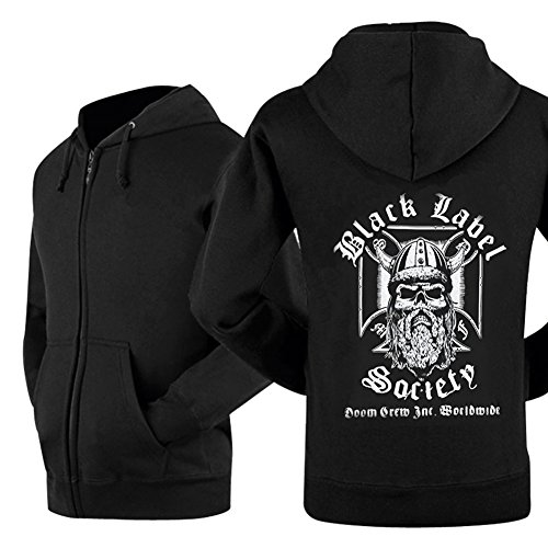 Kigcos Black Label Society Viking Mens Unisex Zipper Black Hoodie Cosplay Coat (Large)