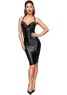 e2e9d430fa1ddb Noir Handmade - Elegantes Neckholder Wetlook Kleid knielang schwarz ...