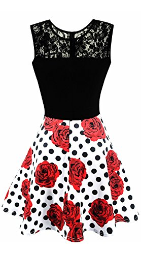 Red Top with With Pleated Black Top Roses Polka Sleeveless Pattern Sylvestidoso Dress Line A Party Little Cocktail Women's Dots Black qw6nztO6xZ