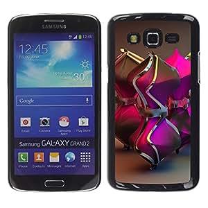 YOYOYO Smartphone Protección Defender Duro Negro Funda Imagen Diseño Carcasa Tapa Case Skin Cover Para Samsung Galaxy Grand 2 SM-G7102 SM-G7105 - reloj de arena púrpura de Bling del oro 3d de metal