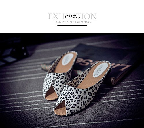 Beach Slippers Peeptoe Mules Yellow Faux Sandals Leopard Fashion Women Causal Gaorui Summer Leather Shoes xwnzXq76Pv