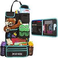 Organizador para asiento trasero de coche | Ecoamigable & resistente | Protege asientos | Organizador gratis | Caja de Regalo de Almacenamiento para los juguetes, accesorios de viaje, Tablet | Baby Shower, Verde y negro