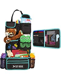 Car Organizer for Back Seat | Eco-Friendly & Strong | Kick Mat Protects Backseat | FREE Visor Organizer | Storage for Toys, Travel Accessories, Tablet | Baby Shower Gift Box (Green and Black) BOBEBE Online Baby Store From New York to Miami and Los Angeles
